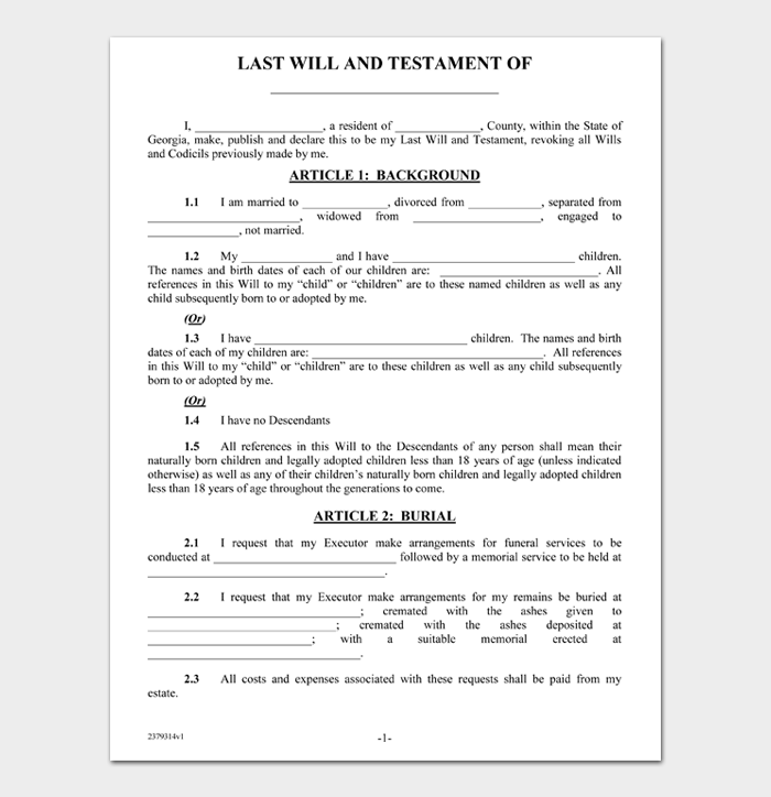 Last Will and Testament Forms and Templates #09