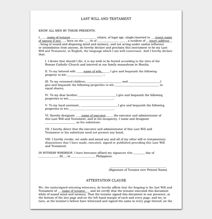 Last Will and Testament Forms and Templates #10