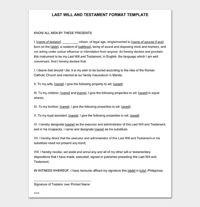 Last Will and Testament Forms and Templates #11