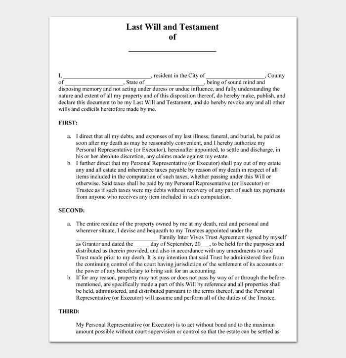 Last Will and Testament Forms and Templates #12