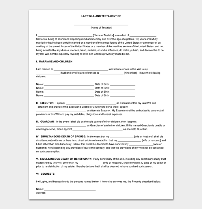 Last Will and Testament Forms and Templates #13