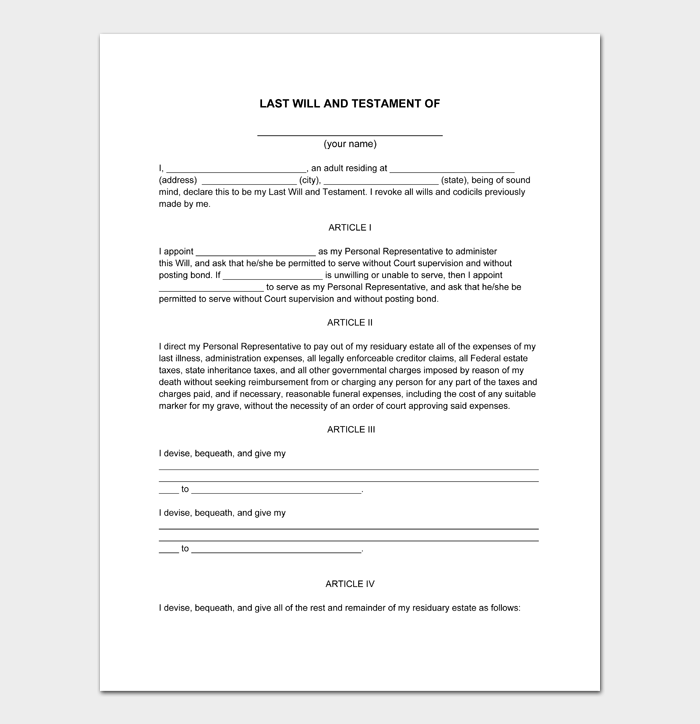 Last Will and Testament Forms and Templates #14