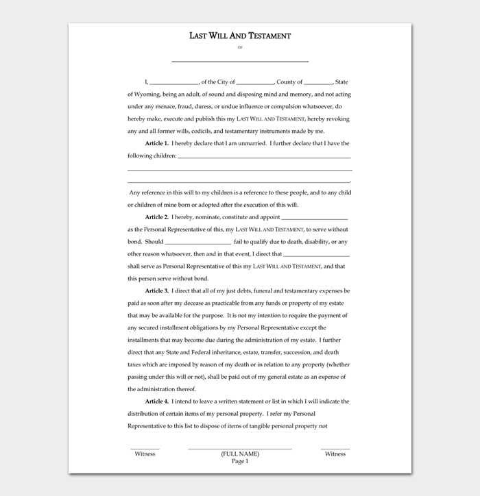 Last Will and Testament Forms and Templates #18