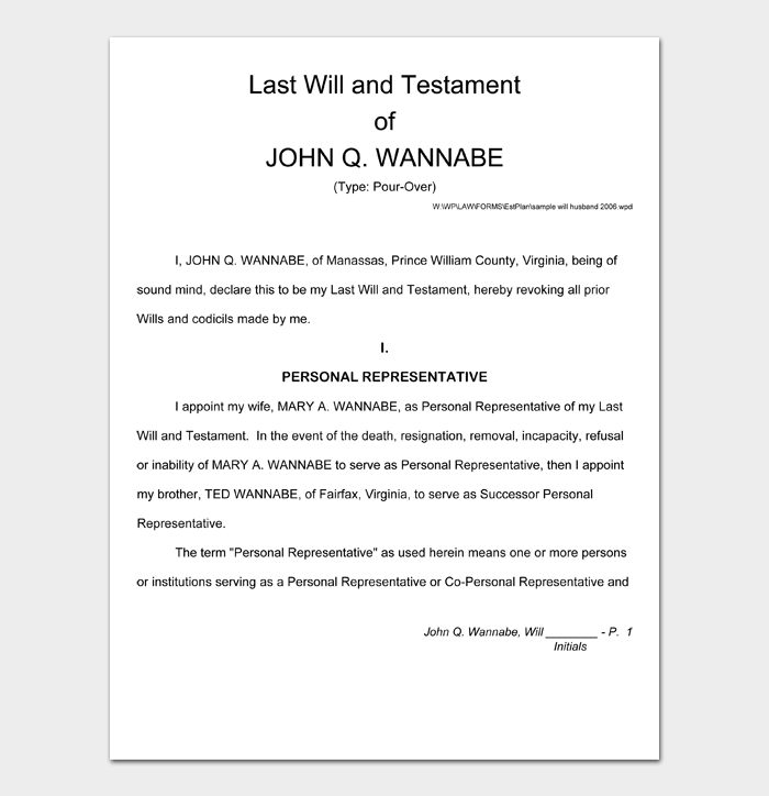 Last Will and Testament Forms and Templates #19