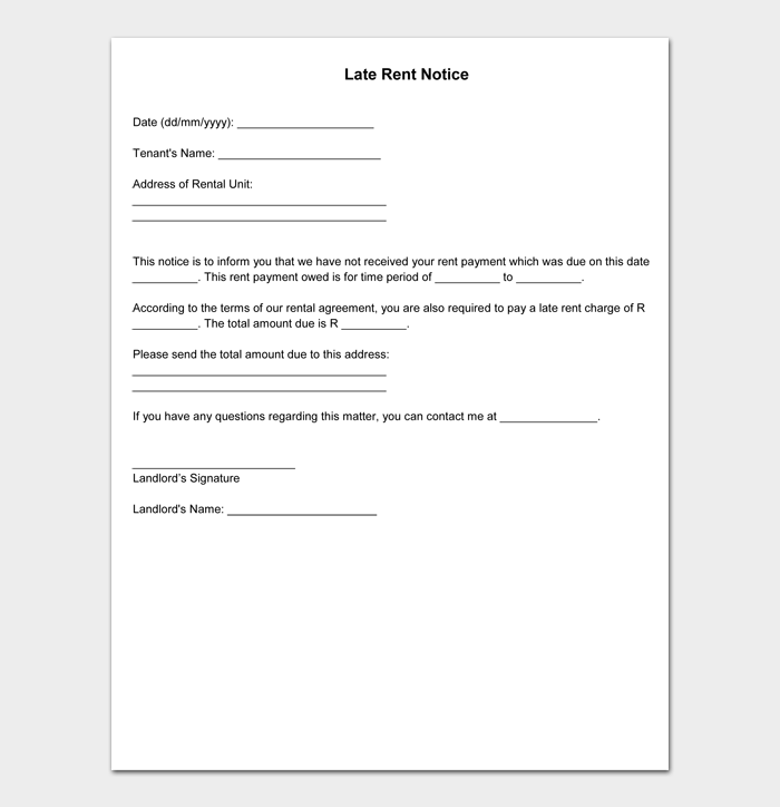Late Rent Notice Templates #11