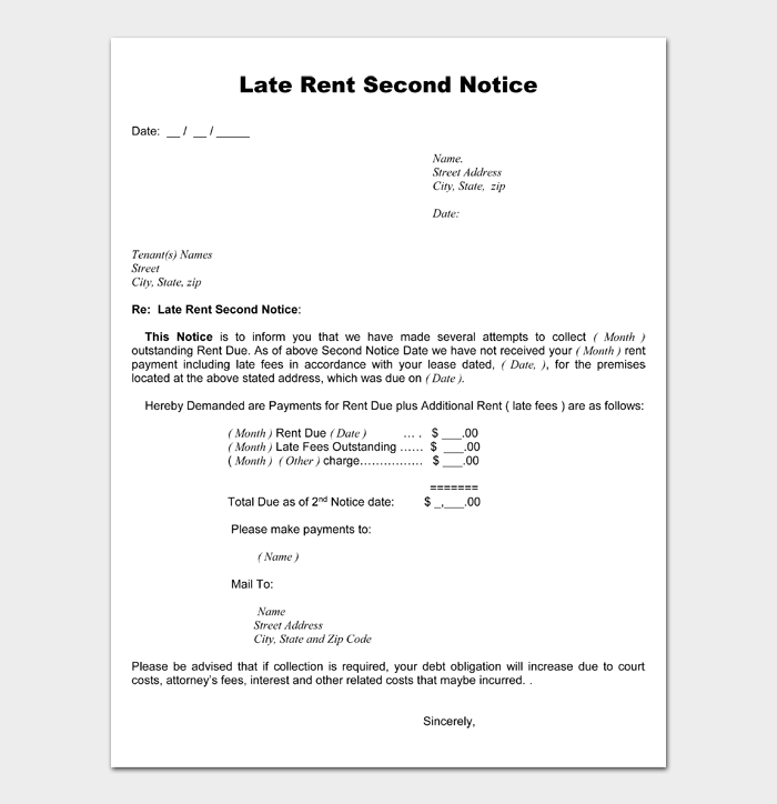 Late Rent Second Notice