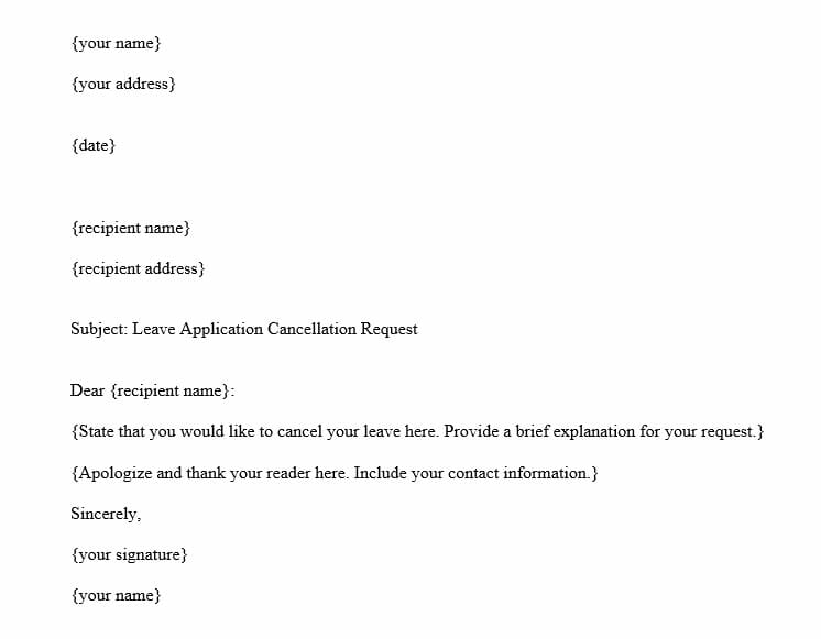 Leave Application Cancellation Letter - MS Word Template image