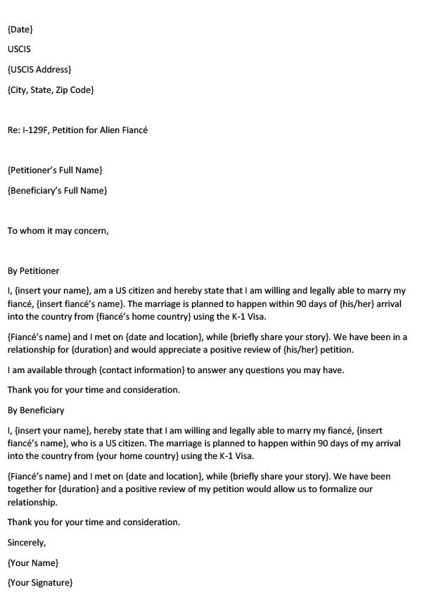 Letter of Intent to Marry within 90 Days – Petitioner and Beneficiary - MS Word Template image