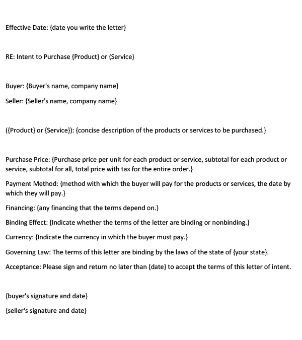 Letter of Intent to Purchase Products or Services (Word Template)