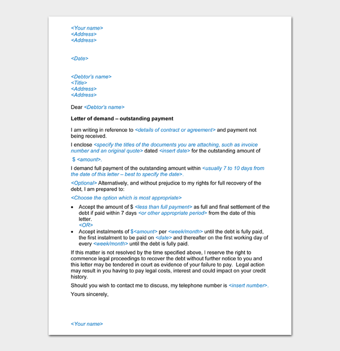 Letter of demand outstanding payment