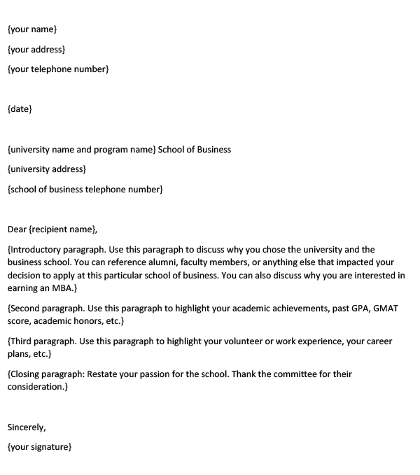 MBA Letter of Intent