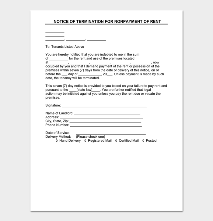 NOTICE OF TERMINATION FOR NONPAYMENT OF RENT
