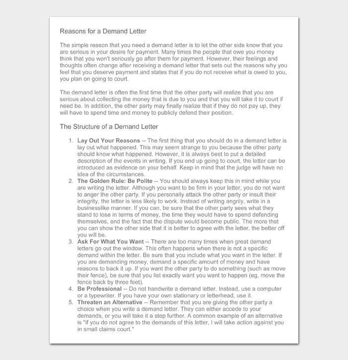 Reasons for a Demand Letter