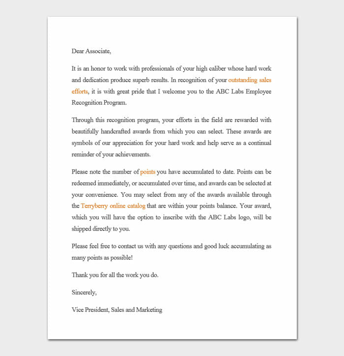 Letter Of Recognition Examples 5