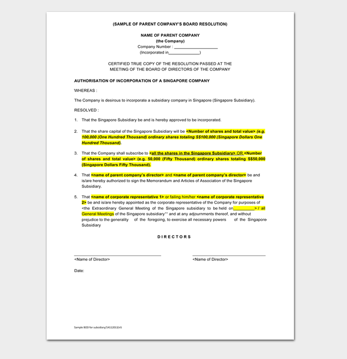 SAMPLE OF PARENT COMPANY'S BOARD RESOLUTION