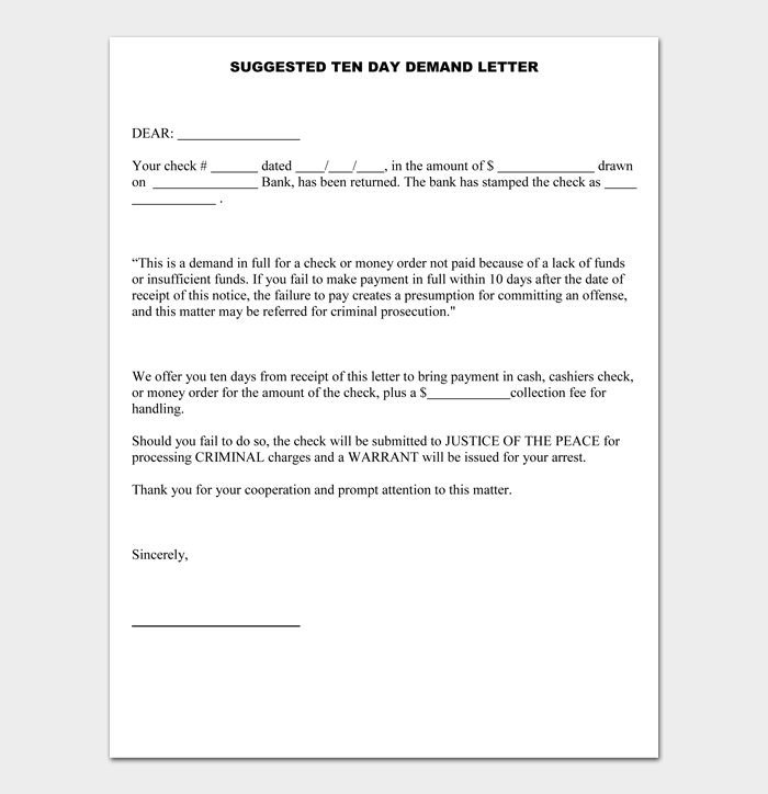 SUGGESTED TEN DAY DEMAND LETTER