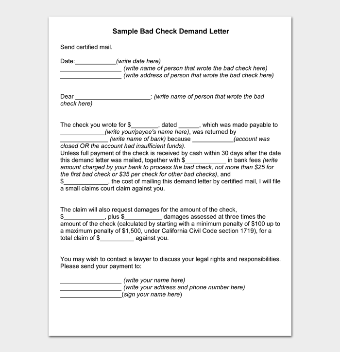 Sample Bad Check Demand Letter