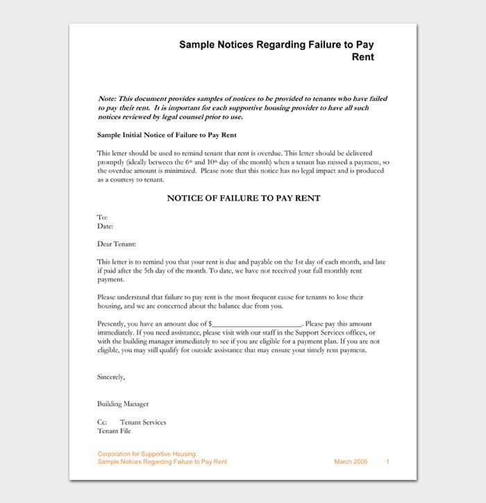 Sample Notices Regarding Failure to Pay Rent