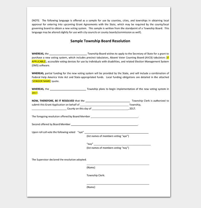 Sample Township Board Resolution