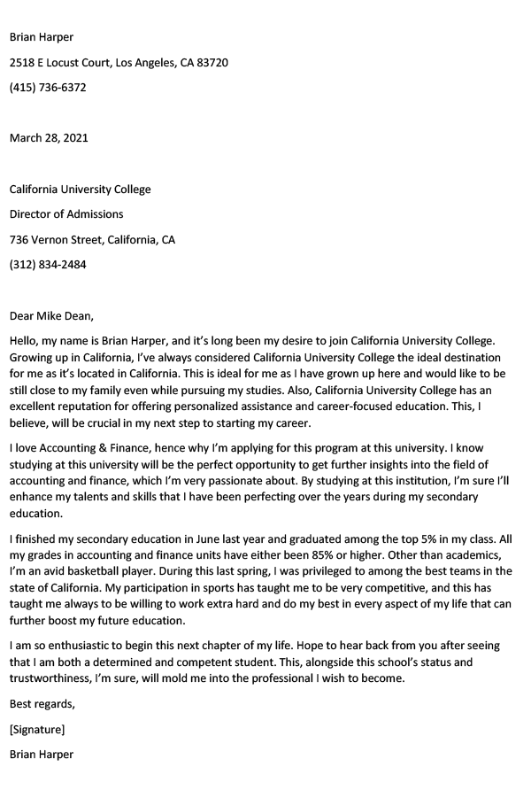 Free School Letter Of Intent Template