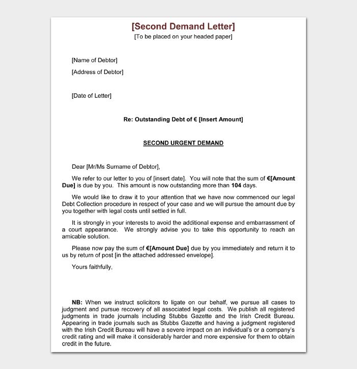 Second Demand Letter