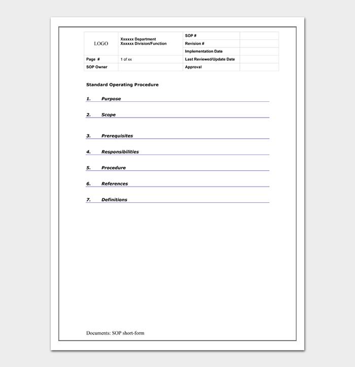 Standard Operating Procedure Templates #01