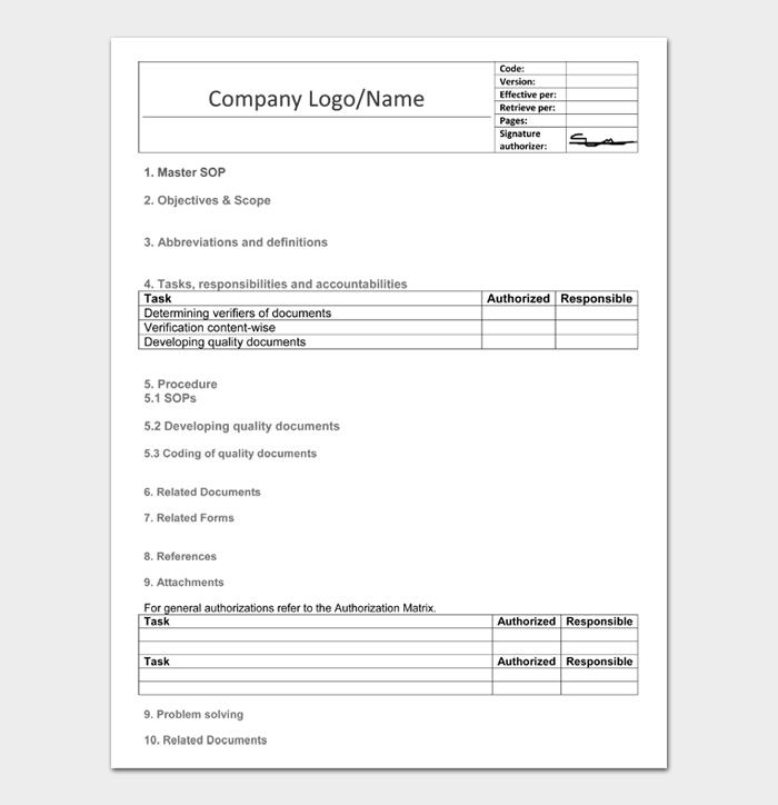 Standard Operating Procedure Templates #02