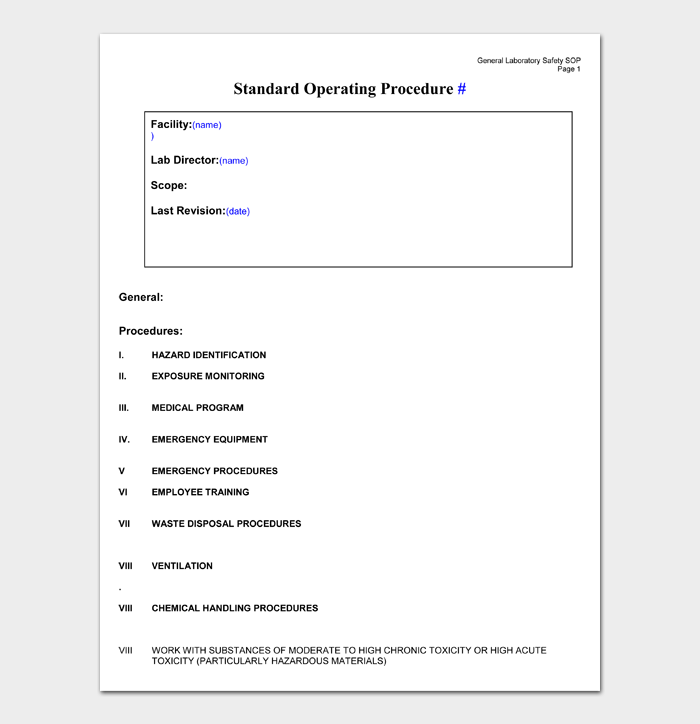 Standard Operating Procedure Templates #04