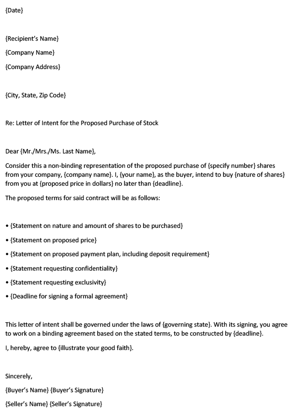 Shares (Stock) Purchase Letter of Intent — Word Template