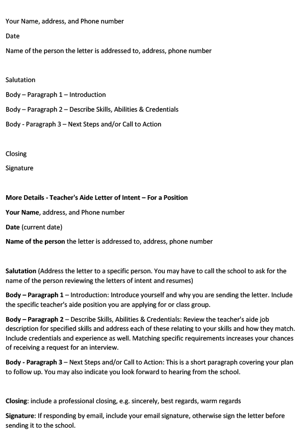 Teacher's Aide Letter of Intent