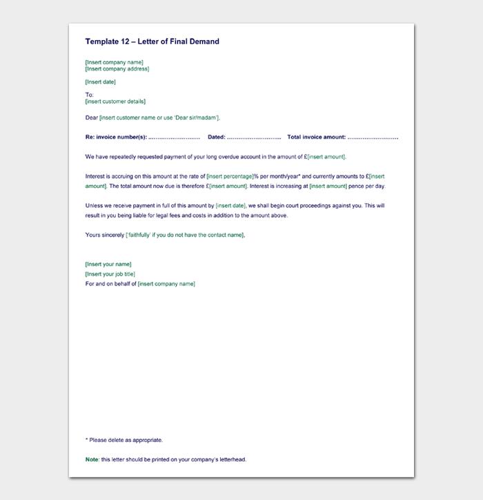 Template 12 – Letter of Final Demand