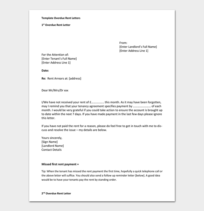 Template Overdue Rent Letters