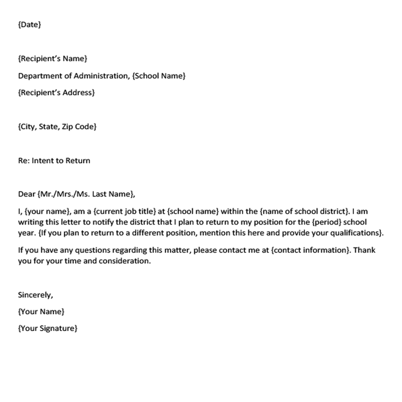 School Position Letter of Intent