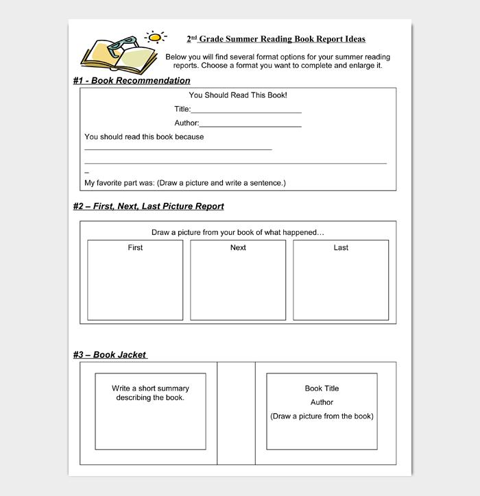 2nd Grade Summer Reading Book Report Ideas