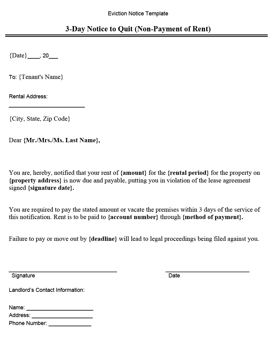 Texas Eviction Notice Forms 3 Days