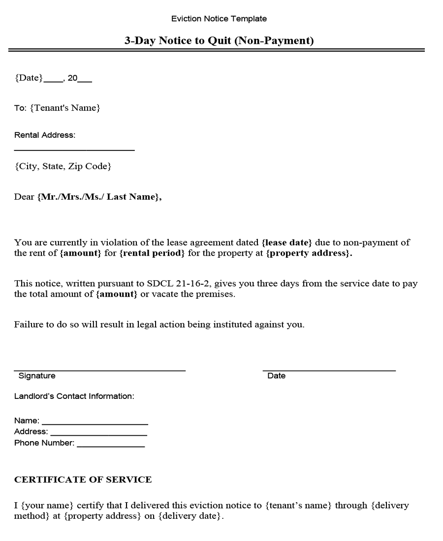 3-Day South Dakota Eviction Notice Form (Non-Payment)