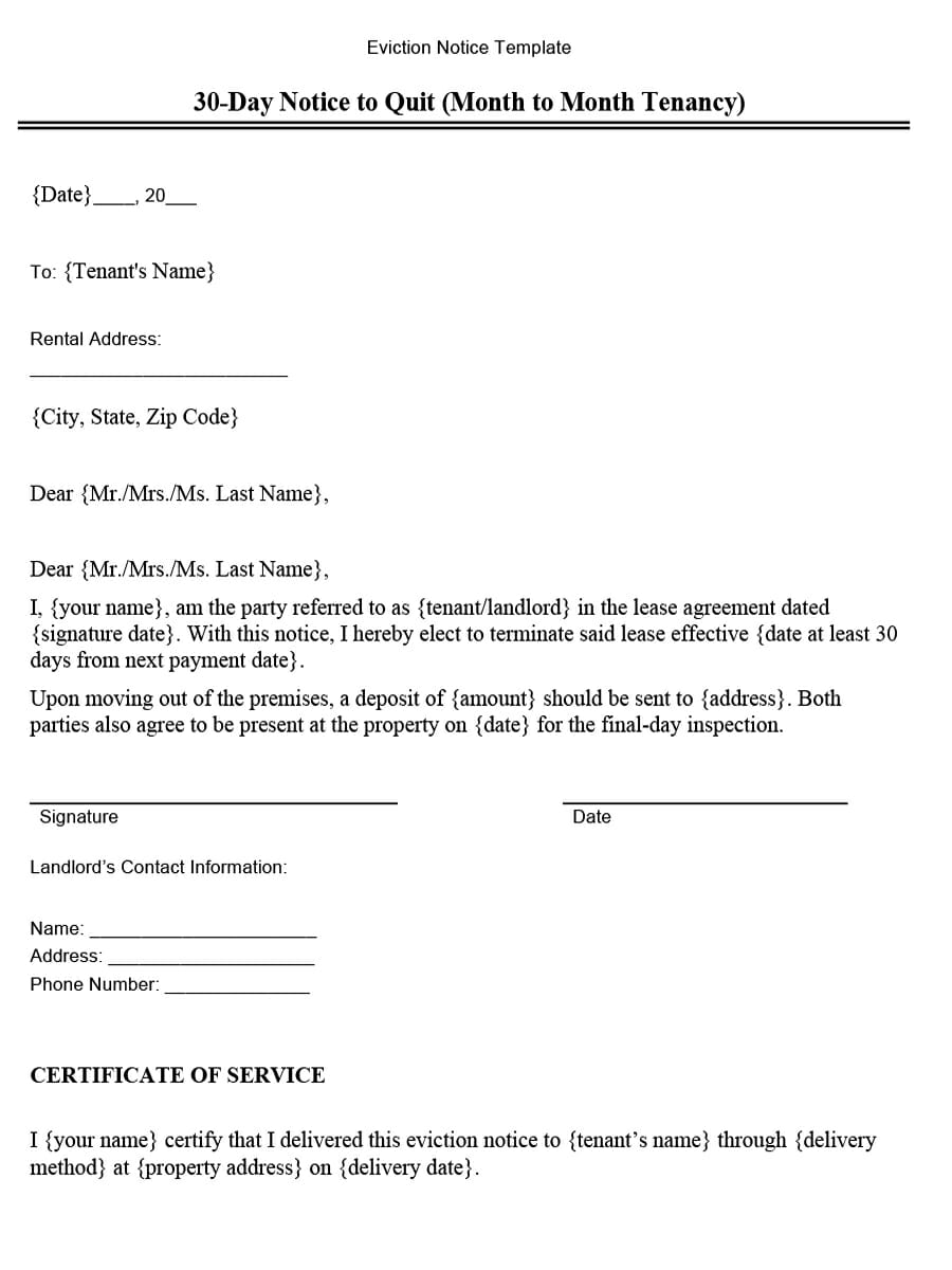 Virginia 30-Day Notice to Quit (Month-to-Month Tenancy)