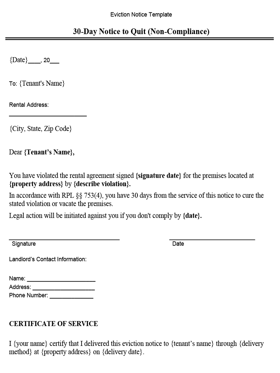 New York 30-Day Notice to Quit (Non-Compliance) - Word Template