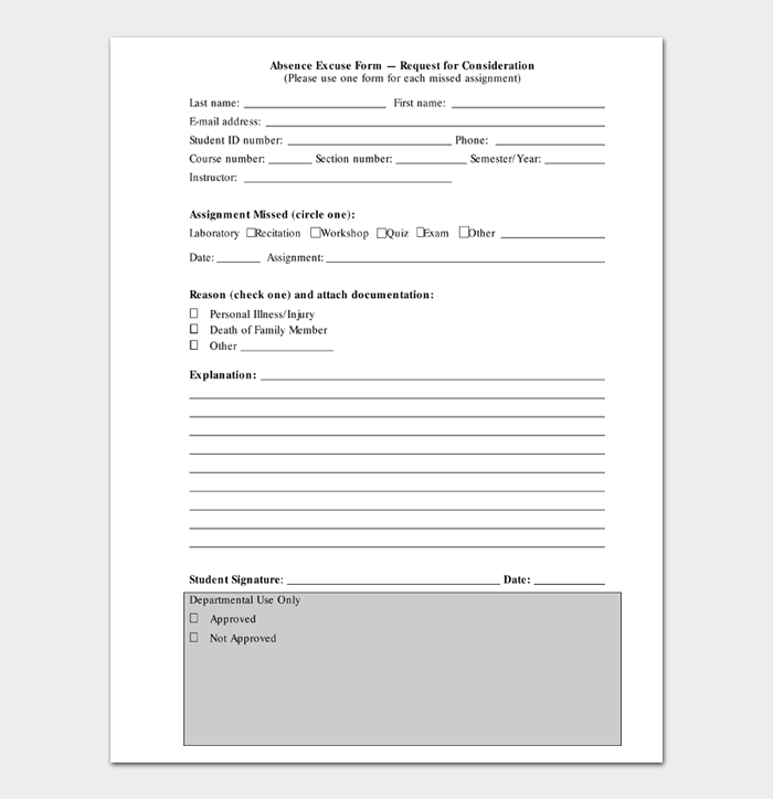 Absence Excuse Form — Request for Consideration