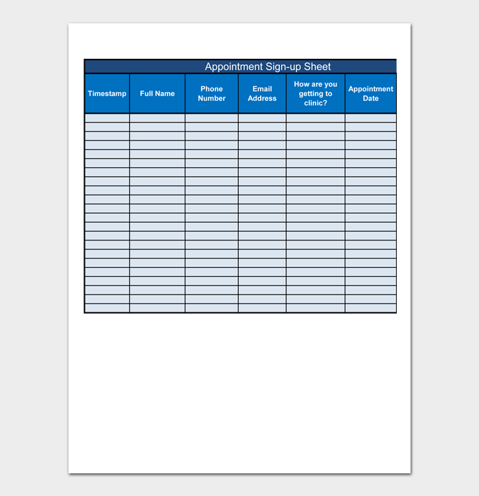 Appointment Sign up Sheet