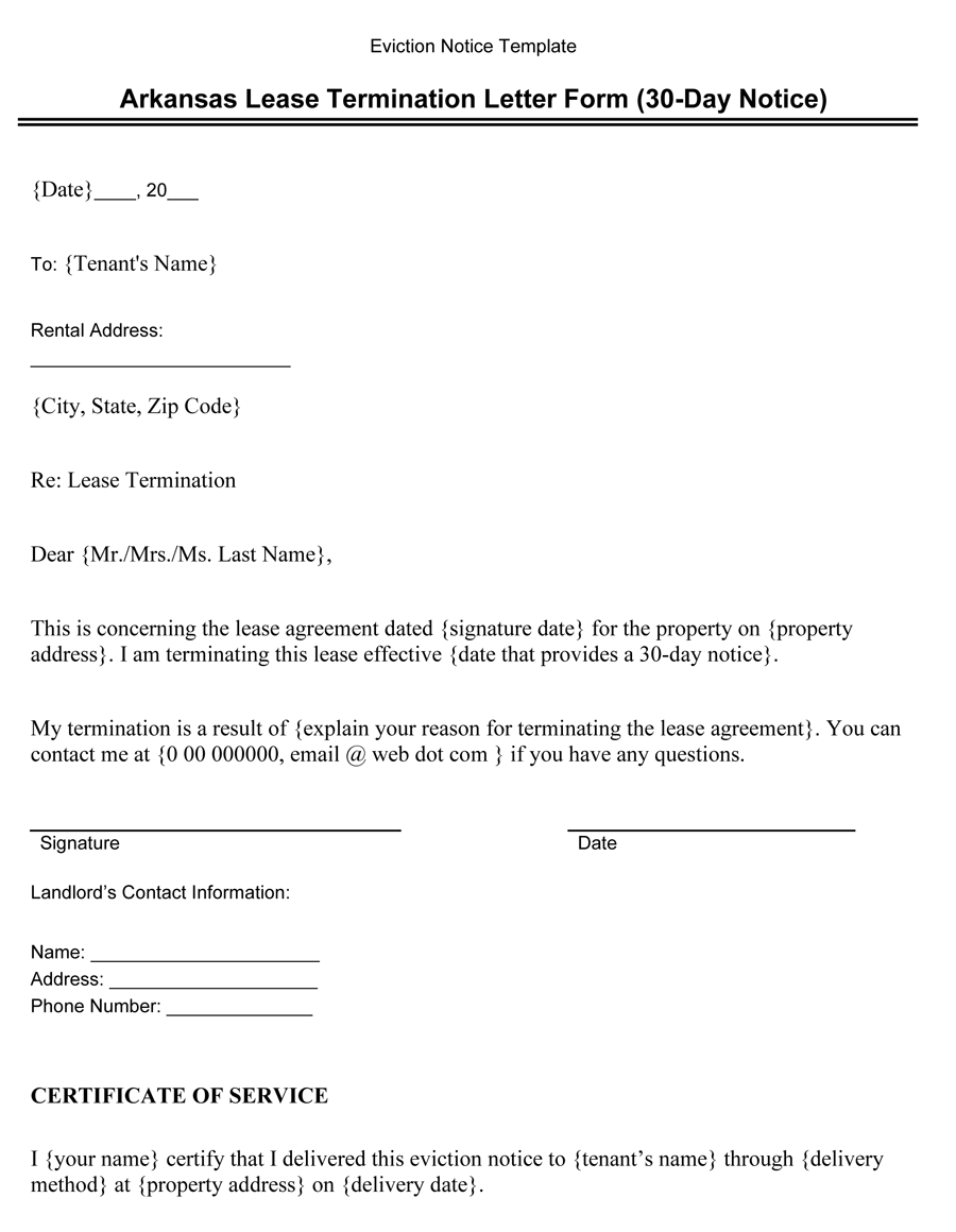 Arkansas Lease Termination Letter Form (30-Day Notice)