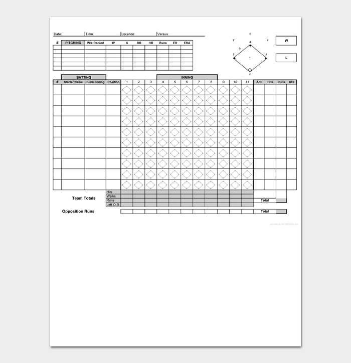 Baseball Score Sheet #02
