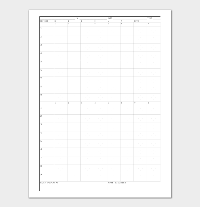 Baseball Score Sheet #20