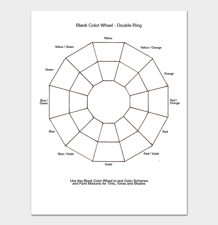 Blank Color Wheel Chart Double ring