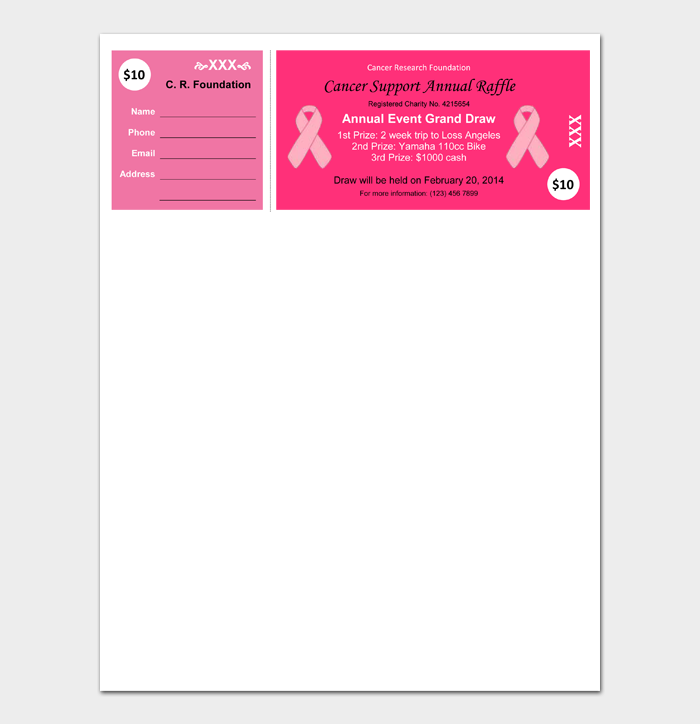 Cancer support Raffle Ticket Template