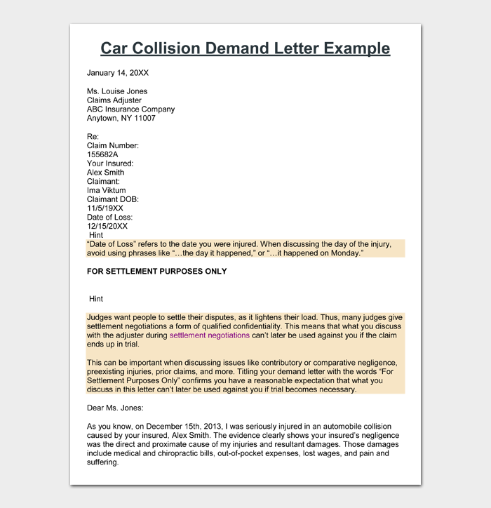 Car Collision Demand Letter Example