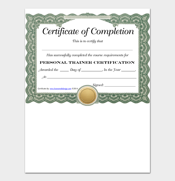 Certificate of Completion Personal Trainer
