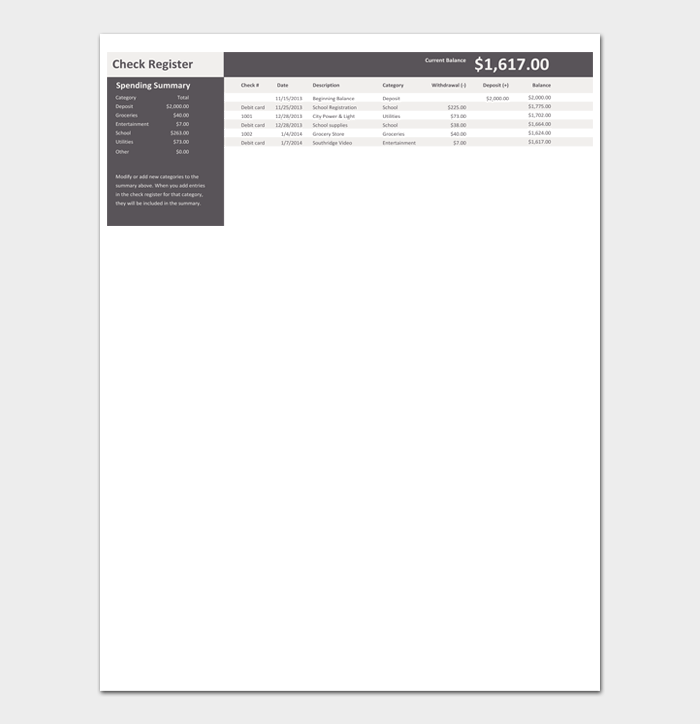 Checkbook Register Template Excel #01
