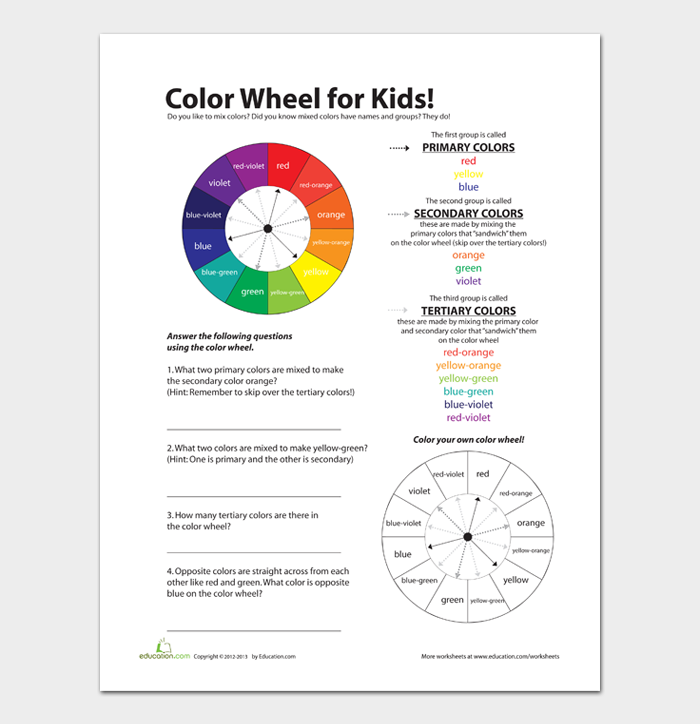 Color Wheel Chart for Kids
