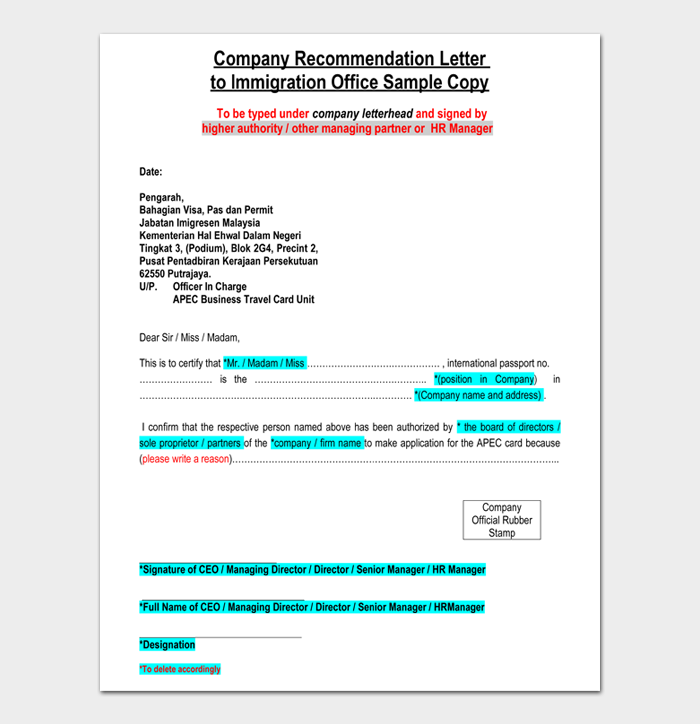 Company Recommendation Letter to Immigration Office Sample Copy